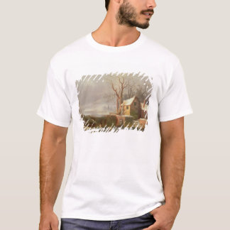 Snow Scene with Mill and Cottages T-Shirt