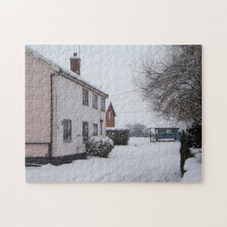 snow scene with old country cottage original photo jigsaw puzzle