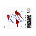 Snow Scene with Red Cardinals Christmas Postage Postage