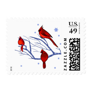 Snow Scene With Red Cardinals Christmas Postage at Zazzle