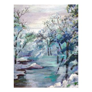 Snow scenery with frozen stream letterhead