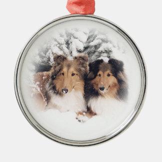Snow Shelties Round Metal Christmas Ornament