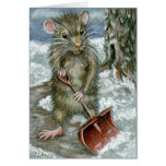 Snow Shovel Rat Note Card