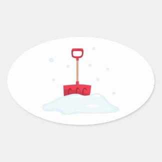 Snow Shovel Oval Sticker
