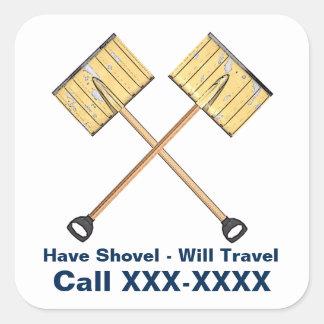 Snow Shoveling Business Square Sticker