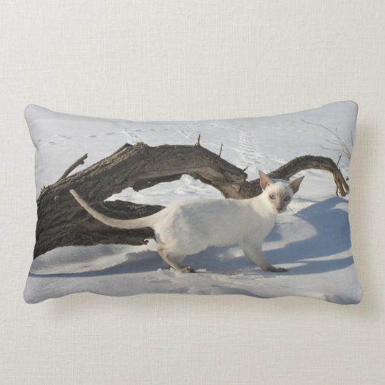 Snow Siamese Cat on Tree Branch, Lilac Point Lumbar Pillow