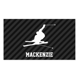 Snow Ski; Black & Dark Gray Stripes Double-Sided Standard Business Cards (Pack Of 100)