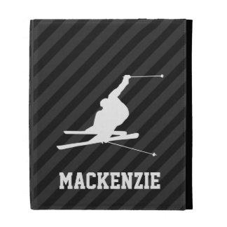 Snow Ski; Black & Dark Gray Stripes iPad Folio Cover