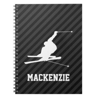 Snow Ski; Black & Dark Gray Stripes Spiral Notebook