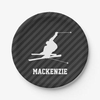 Snow Ski; Black & Dark Gray Stripes 7 Inch Paper Plate