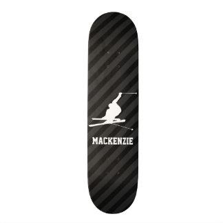 Snow Ski; Black & Dark Gray Stripes Skateboard