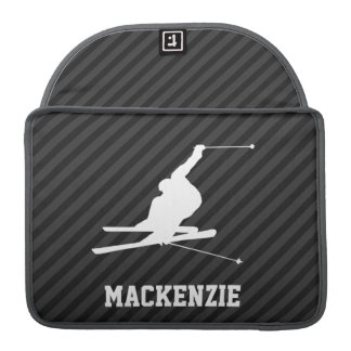 Snow Ski; Black & Dark Gray Stripes Sleeve For MacBook Pro