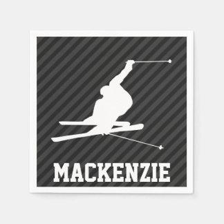 Snow Ski; Black & Dark Gray Stripes Standard Cocktail Napkin