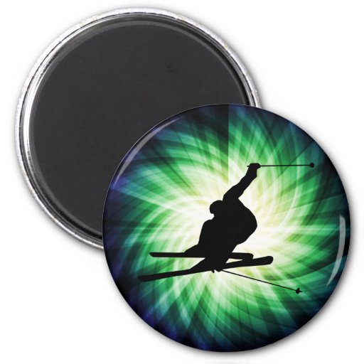 Snow Ski Gift 2 Inch Round Magnet