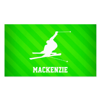 Snow Ski; Neon Green Stripes Double-Sided Standard Business Cards (Pack Of 100)