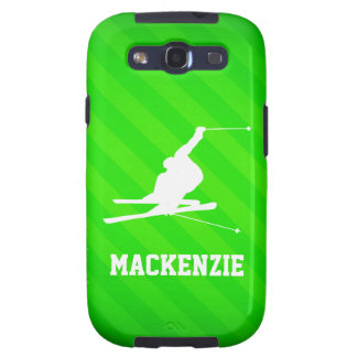 Snow Ski; Neon Green Stripes Galaxy S3 Covers
