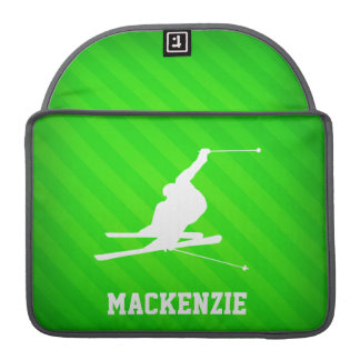 Snow Ski; Neon Green Stripes MacBook Pro Sleeve