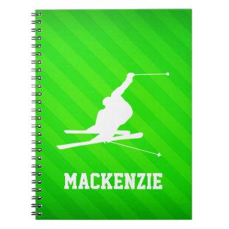 Snow Ski; Neon Green Stripes Spiral Note Book