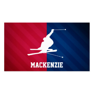 Snow Ski; Red, White, and Blue Double-Sided Standard Business Cards (Pack Of 100)