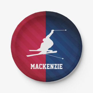 Snow Ski; Red, White, and Blue 7 Inch Paper Plate