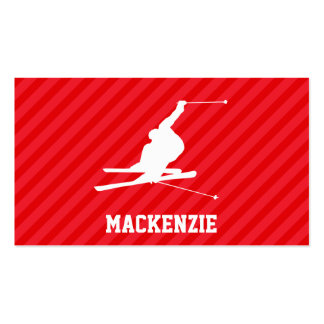 Snow Ski; Scarlet Red Stripes Double-Sided Standard Business Cards (Pack Of 100)