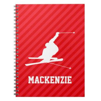 Snow Ski; Scarlet Red Stripes Spiral Notebook