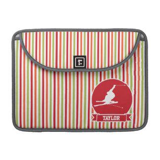 Snow Ski, Skiing, Red, Orange, Green Stripes MacBook Pro Sleeve