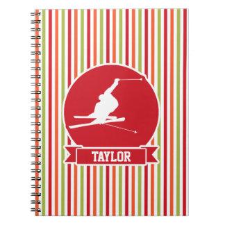 Snow Ski, Skiing, Red, Orange, Green Stripes Spiral Notebook