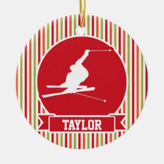 Snow Ski, Skiing, Red, Orange, Green Stripes Double-Sided Ceramic Round Christmas Ornament