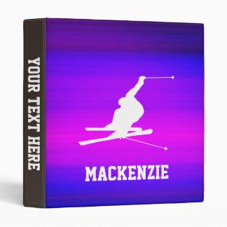 Snow Ski; Vibrant Violet Blue and Magenta Vinyl Binders
