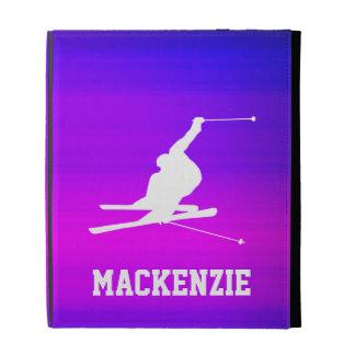 Snow Ski; Vibrant Violet Blue and Magenta iPad Cases