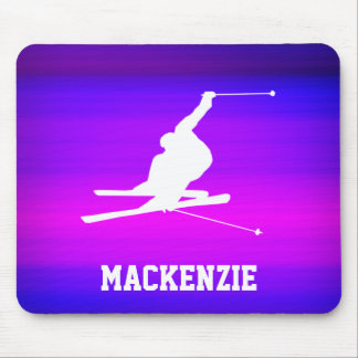 Snow Ski; Vibrant Violet Blue and Magenta Mouse Pad