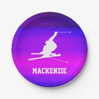 Snow Ski; Vibrant Violet Blue and Magenta 7 Inch Paper Plate