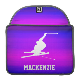 Snow Ski; Vibrant Violet Blue and Magenta Sleeve For MacBooks
