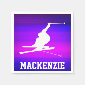 Snow Ski; Vibrant Violet Blue and Magenta Standard Cocktail Napkin