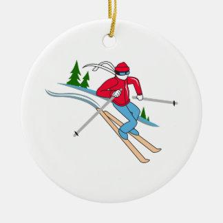 SNOW SKIER CERAMIC ORNAMENT