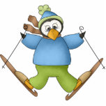 "Snow Skier Penguin Ornament<br><div class=""desc"">An adorable penguin dressed in a blue sweater and bright green snowpants tries his hand at snow skiing on a cute Snow Skier Penguin ornament!</div>"