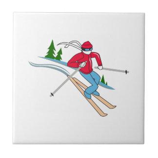 SNOW SKIER CERAMIC TILES