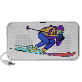 Snow Skiing Athlete Doodle Travel Speakers
