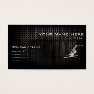 Snow Skiing; Cool Black Business Card