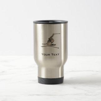 Snow Skiing; Cool Black 15 Oz Stainless Steel Travel Mug