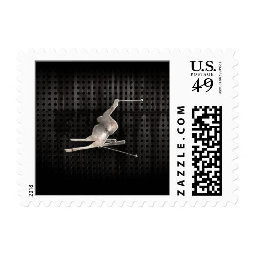 Snow Skiing; Cool Black Postage Stamps
