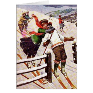 Snow Skiing Couple, Card