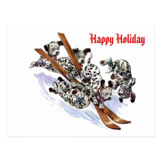 snow skiing, Happy Holiday Postcard