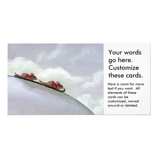 Snow skiing racing rats fun uique art rat painting card