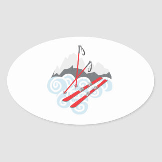 Snow Skis Oval Sticker