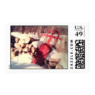 Snow Sled Postage Stamp