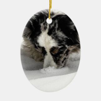 Snow Snout Corgi Ceramic Ornament