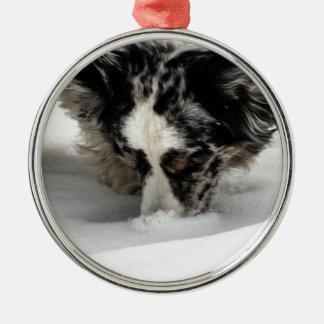 Snow Snout Corgi Metal Ornament