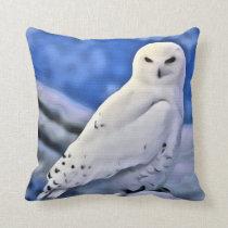 Snow Snowy White Owl Bird Blue Sky Throw Pillow